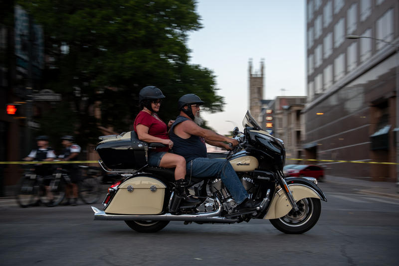 Motorcyclists drive down Congress Avenue during the annual ROT Rally parade on Friday.