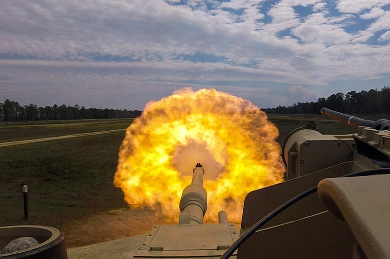 Soldiers fire at a target from a tank during training in Fort Stewart, Ga., in March.