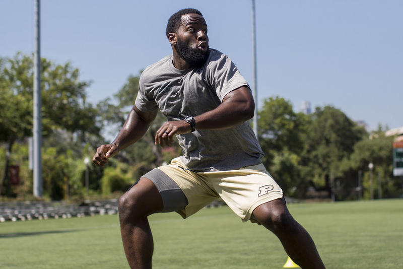 Danny Ezechukwu trains at Clark Field on the UT Austin campus last week. He reports to training camp for the Philadelphia Eagles on Wednesday.
