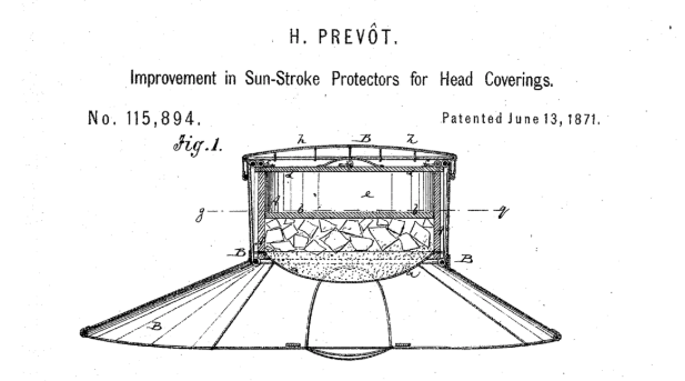 Hellvig Prevot received a patent in 1871 for this ice-filled hat.