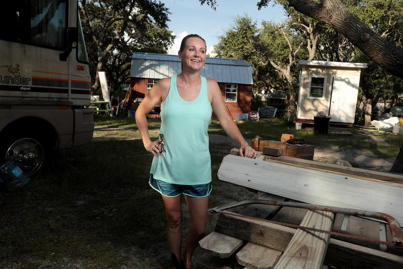 Sam McCrary at her 3.5-acre home which served as an unofficial relief shelter for residents of the area who couldn't get help anywhere else in Rockport.
