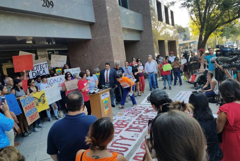 DACA supporters held a press conference in front of the Texas Attorney General's Office in Austin on Sept. 5, 2017, after the Trump administration announced the program was ending.