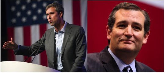 Congressman. Beto O'Rourke speaking at the 2018 Texas Democratic Convention in Fort Worth (left) and Sen. Ted Cruz speaking at then-Governor-elect Greg Abbott's election night party in 2014.