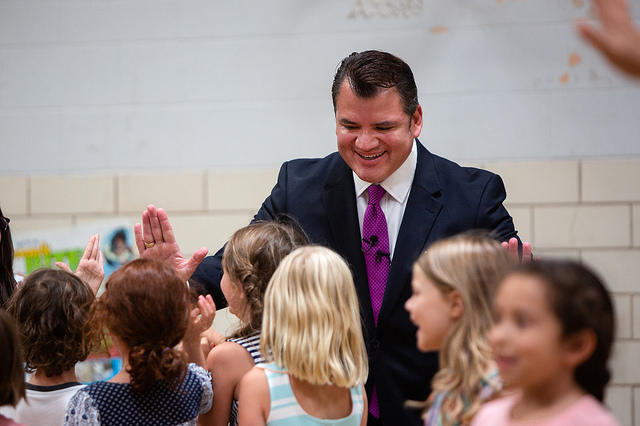 Austin Independent School District Superintendent Paul Cruz greets students on the first day of school at Barton Hills Elementary School on Tuesday.