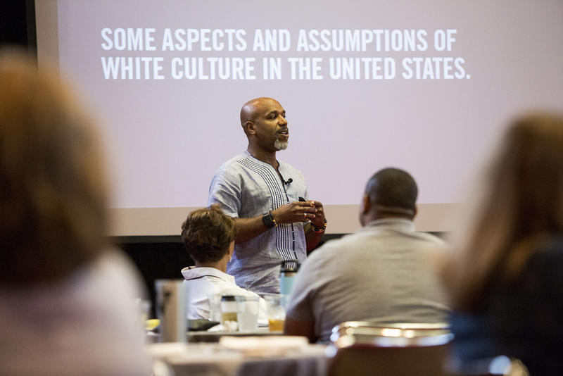 Glenn Singleton leads a two-day diversity training workshop at the LBJ Presidential Library last month.