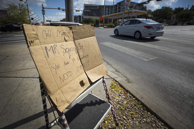 A sign held by someone at an intersection can be an ovbvious, ourward sign of the need for shelter and other assistance. Some local service providers do not want people to forget the unseen population that needs help.
