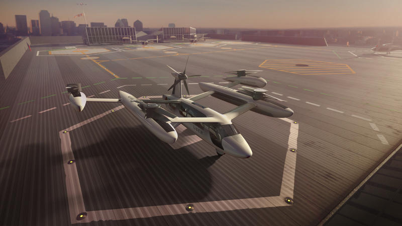 """An artist's rendering of Uber's """"air taxi."""""""