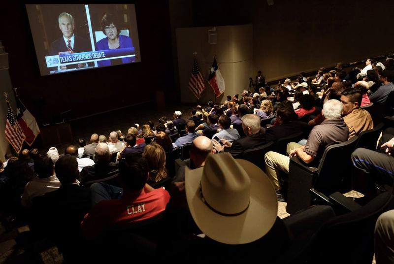Gov. Greg Abbott and Democratic challenger Lupe Valdez debate in their first and only debate in Austin on Friday.