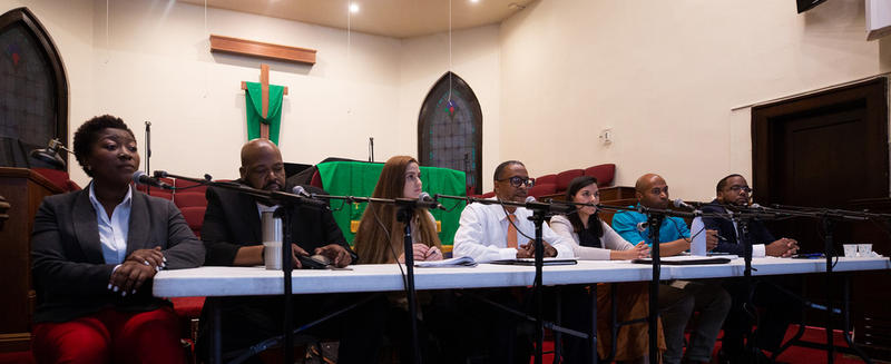 Candidates at KUT's District 1 forum at Wesley United Methodist Church on Oct. 1.