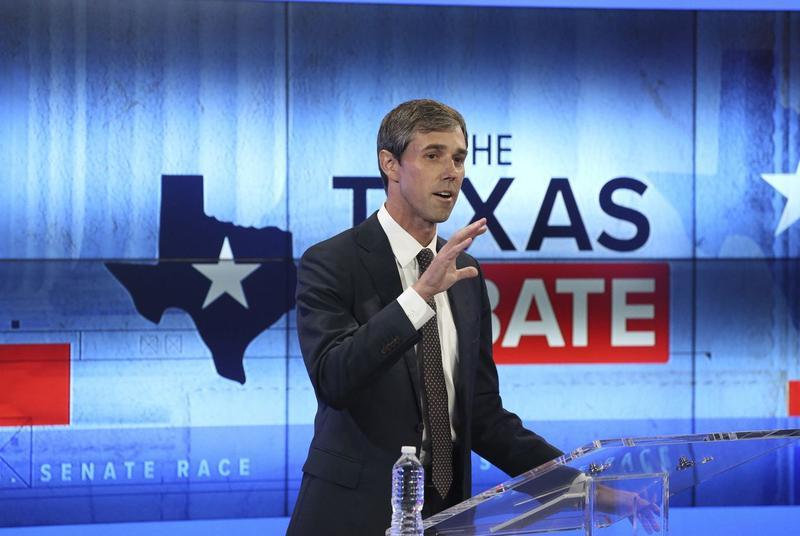 U.S. Rep. Beto O'Rourke, D-El Paso, debates U.S. Sen. Ted Cruz at the KENS 5 Studios in San Antonio on Oct. 16, 2018.