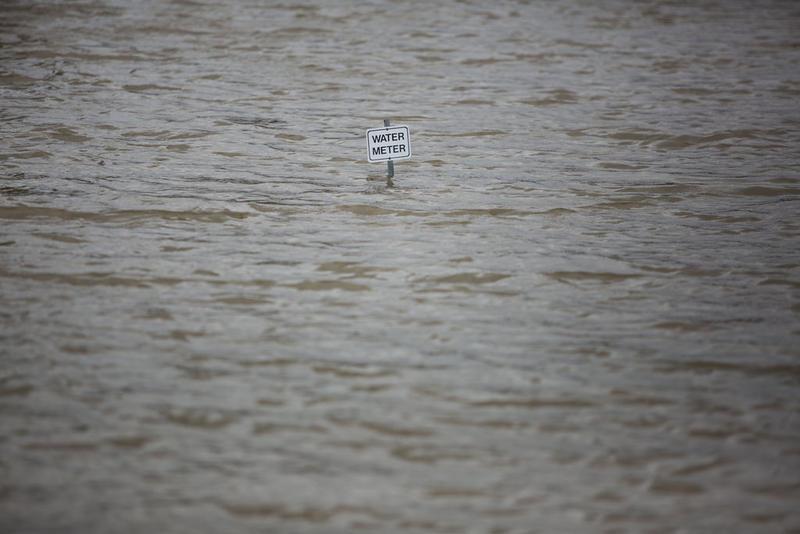 Flooding at the Cottonwood Inn Motel in La Grange, Texas following Hurricane Harvey on Aug. 28, 2017.