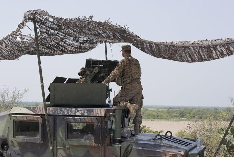 Texas National Guard troops at a observation post along the Rio Grande in Hidalgo County on April 13, 2018.