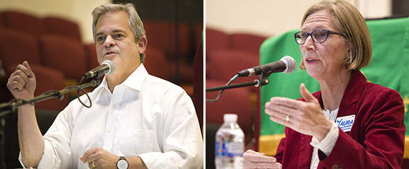 Steve Adler and Laura Morrison participate in a mayoral candidates forum hosted by KUT last month.