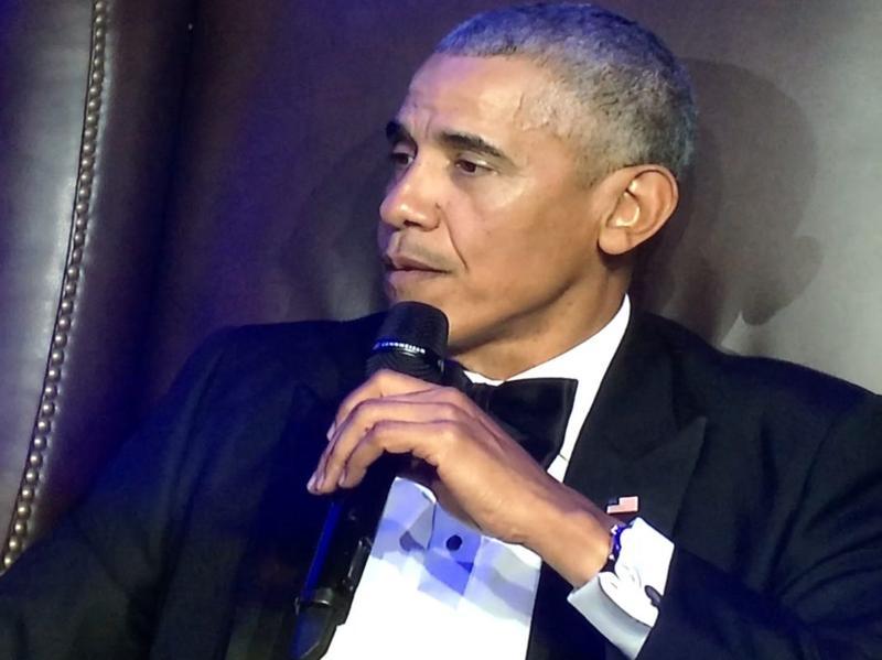 Former President Barack Obama speaking at Rice University's Baker Institute on Tuesday.