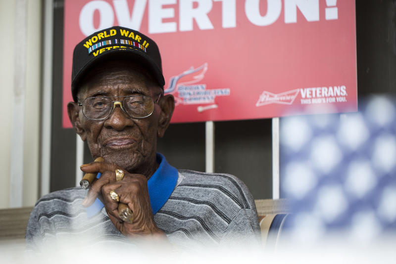 Richard Overton, at a public party for his at 111th birthday on May 11, 2017.