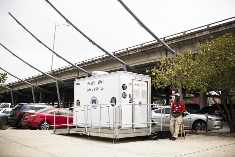 A portable public restroom in the parking lot under Interstate 35 in downtown Austin on Sept. 28, 2017.
