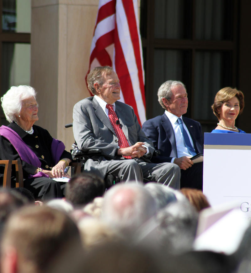 Former First Lady Barbara Bush (left), former President George H.W. Bush, former President George W. Bush and former First Lady Laura Bush at the George W. Bush Presidential Center opening ceremony in 2013.