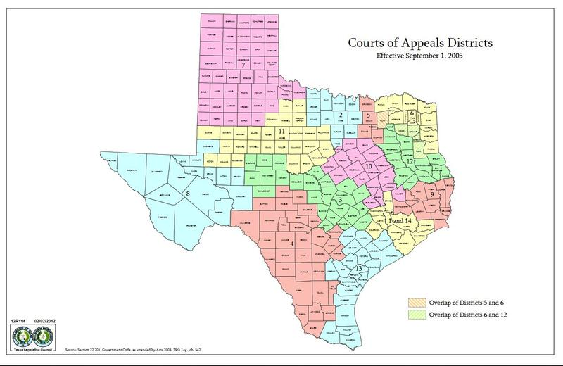 The system of courts in Texas includes 14 Court of Appeals districts organized geographically. In the Nov. 6, 2018 election, 19 incumbent Republican appellate judges lost their seats.