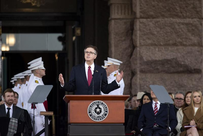 Lt. Gov. Dan Patrick addresses the crowd during an inauguration ceremony on the Capitol grounds Tuesday.