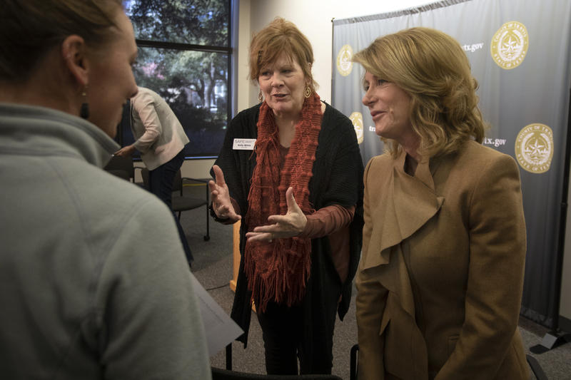 Kelly White of SAFE Alliance and former state Sen. Wendy Davis at a press conference announcing the Sexual Assault Prevention and Healing Work Group on Tuesday.