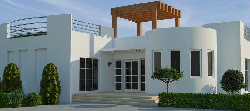 """A rendering of """"Genesis,"""" one of We Print Houses' 3D-printed home designs."""