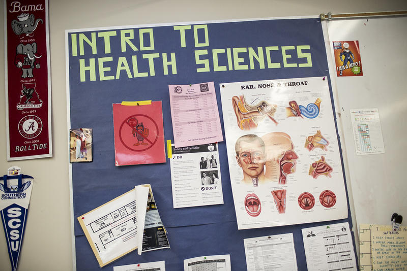 The bulletin board of a health science classroom at Eastside Memorial Early College High School.
