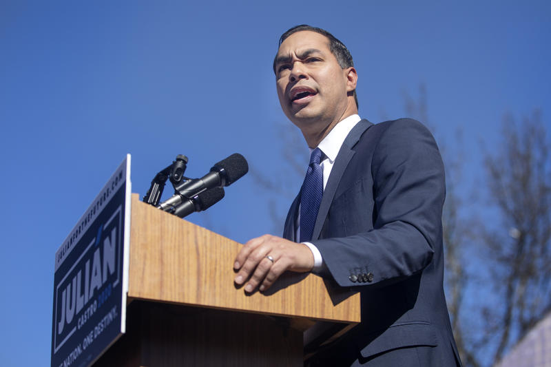 Julián Castro announces he's running for president, in San Antonio on Saturday.