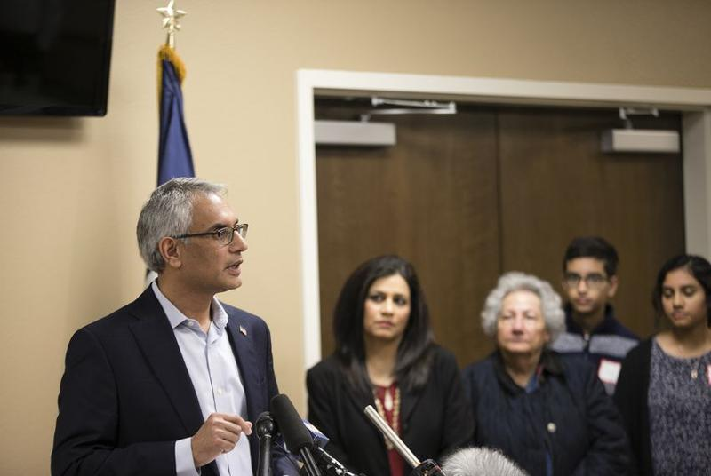 Dr. Shahid Sharif enters a Tarrant County Republican Party executive committee meeting in Richland Hills on Thursday before a vote to oust him from his vice chairmanship because he's Muslim.
