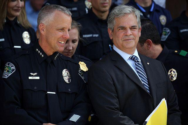 Then-interim Austin Police Chief Brian Manley and Austin Mayor Steve Adler join police leaders to speak out against the so-called bathroom bill at the Capitol in 2017.