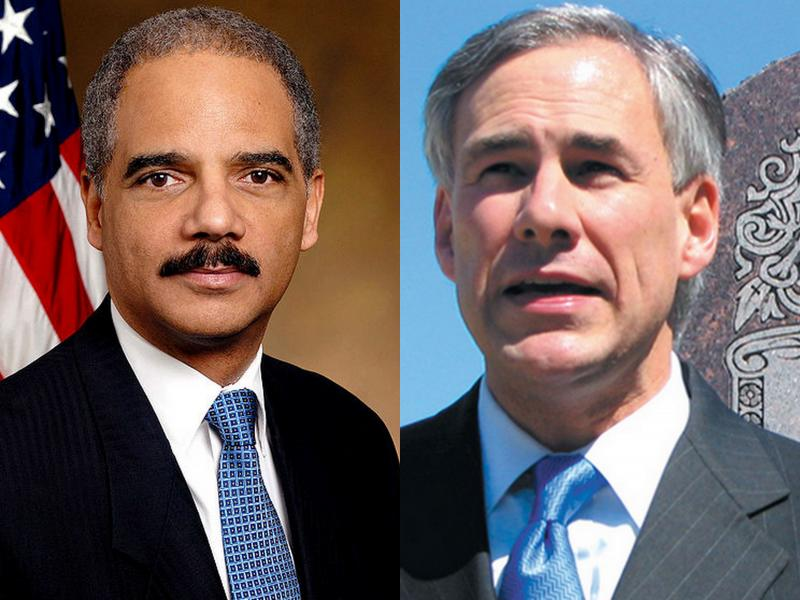 U.S. Attorney General Eric Holder (l) and Texas Attorney General Greg Abbott have clashed over Voter ID requirements.
