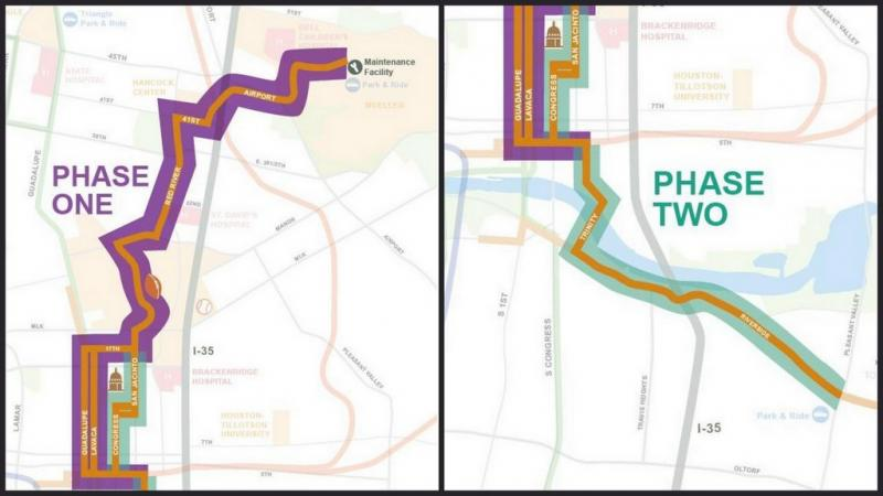 The first proposed phase would serve Downtown, the Capitol Complex, UT, Hancock Center and Mueller. Phase 2 would cross the river and head down Riverside to Pleasant Valley.