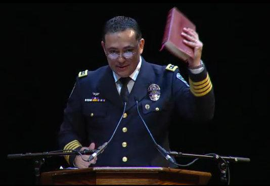 Police Chief Art Acevedo delivered an emotional speech at a memorial for Officer Jaime Padron today.