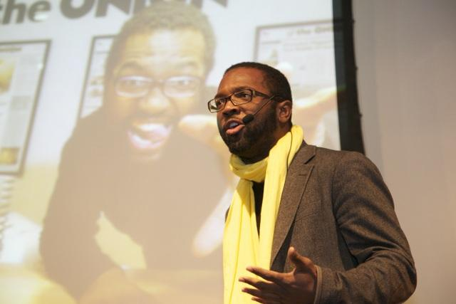 Baratunde Thurston speaks about his work in this promotional photo.