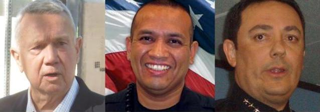 Austin Mayor Lee Leffingwell (l) and Police Chief Art Acevedo (r) will speak at services for APD Officer Jaime Padron.