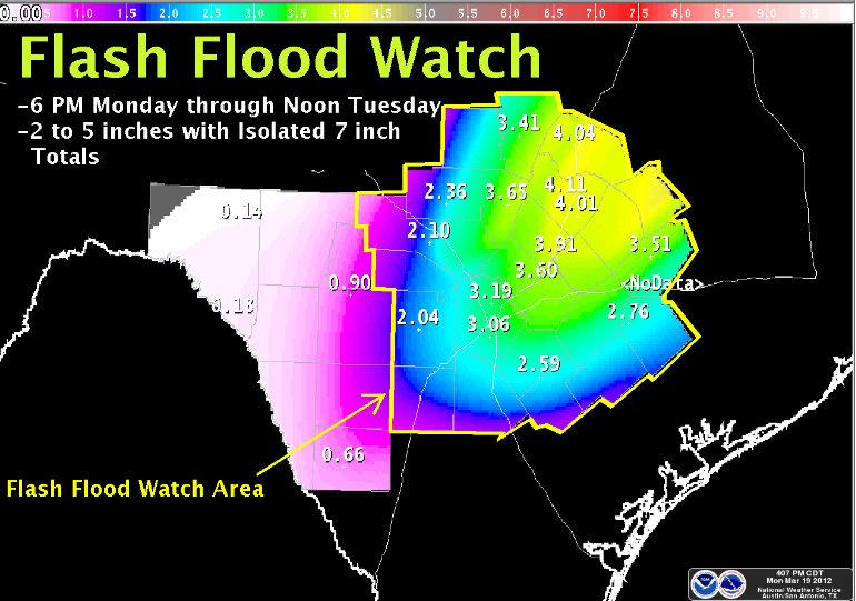 Travis County and much of the Hill Country is under a flash flood watch.