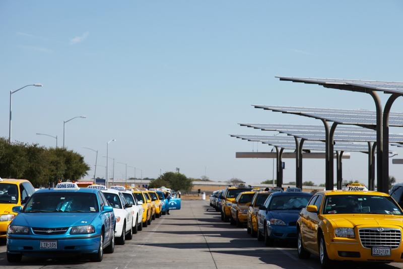 The cab queue at Austin Bergstrom International Airport.