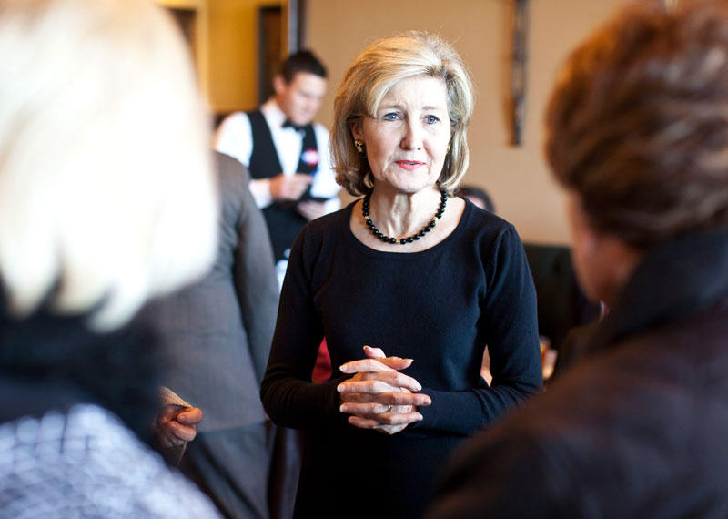 U.S. Senator Kay Bailey Hutchison talks with supporters at the Bonnie Ruth's Cafe in suburban Frisco, TX during a campaign stop for the Republican nomination for Texas governor.