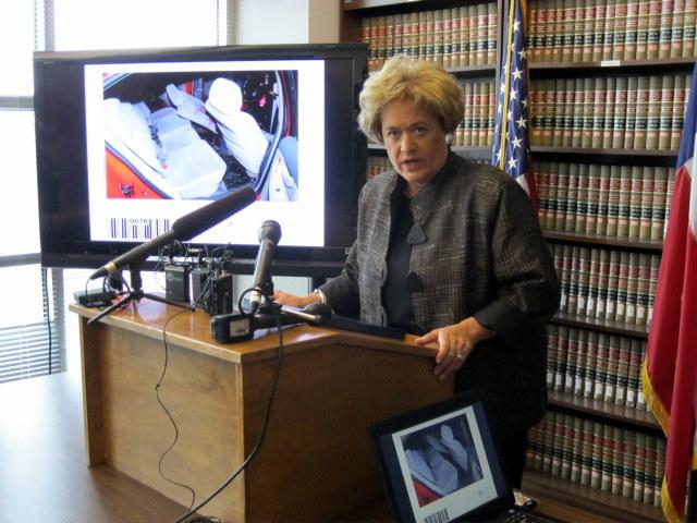 District Attorney Rosemary Lehmberg at a press conference today.