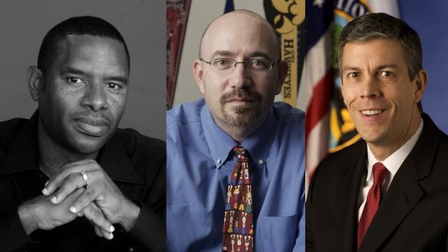 SXSWedu speakers include (left to right) S. Craig Watkins, Mike Feinberg and Arne Duncan.