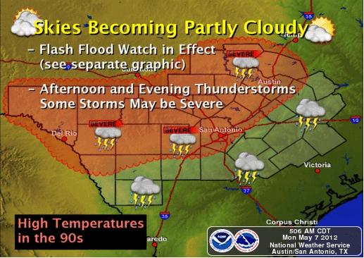 South-Central Texas can expect storms in the area, beginning Monday night until Tuesday afternoon.
