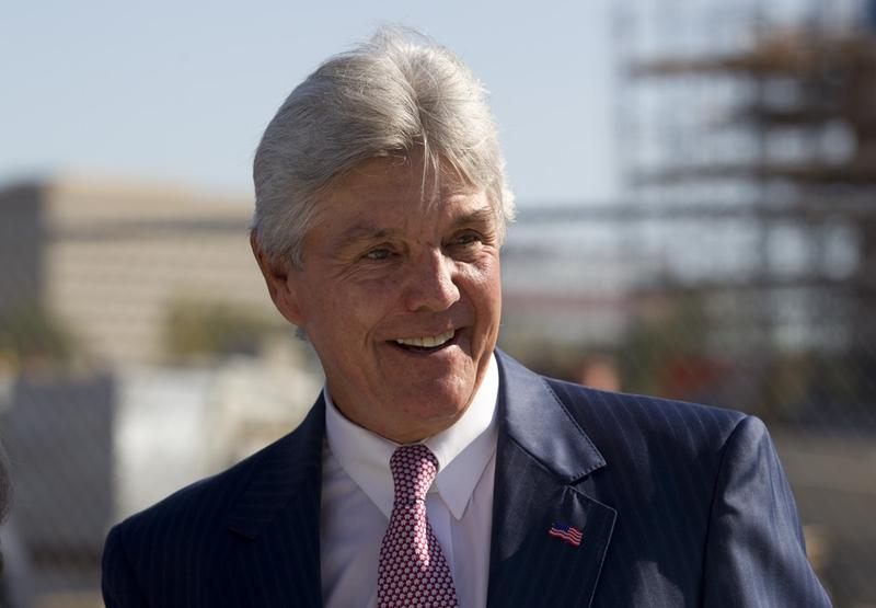 Republican car dealer and former Secretary of State Roger Williams in Dallas on October 3, 2011 at the construction site of the Bush Presidential Library on the SMU campus.