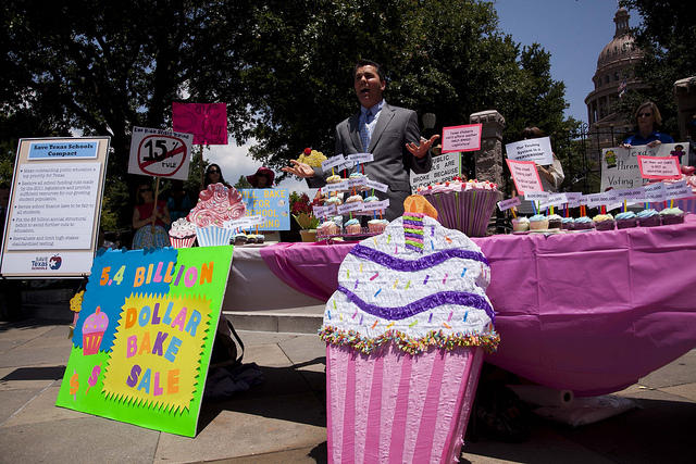"Save Texas Schools drew attention to education spending cuts with a symbolic ""bake sale"" this afternoon."
