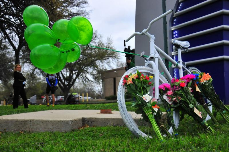 "A ""ghost bike"" represents a cyclist killed while on a ride. In a demonstration tonight, cyclists hope to spur changes that will help prevent crashes involving cyclists."
