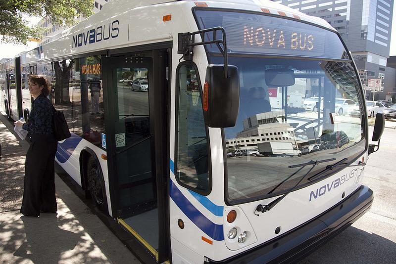 Officials announced the investment along a bus similar to what MetroRapid will offer.