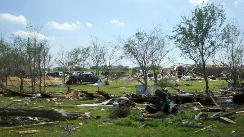 The aftermath of severe weather which produced multiple tornadoes in North Texas.