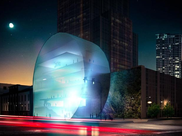 An artist's rendering of the proposed, $30 million Mexic-Arte Museum.