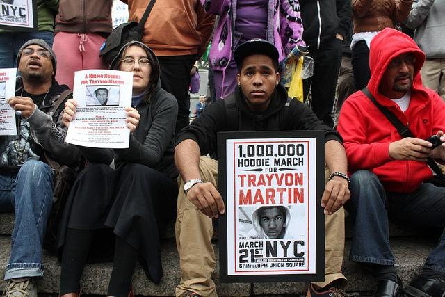 Participants at a march protesting the killing of Trayvon Martin.