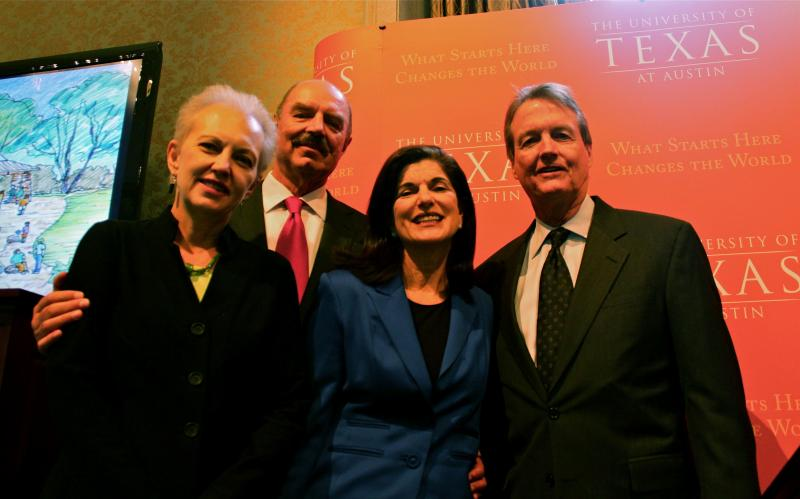 Executive Director of the Lady Bird Johnson Wildflower Center Susan K. Rieff, Ian Turpin, Luci Baines Johnson, and UT President Bill Powers pose at the announcement of the donation.