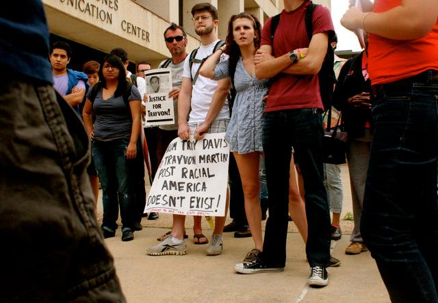 A scene at the March 28 protest of 'The Daily Texan.'