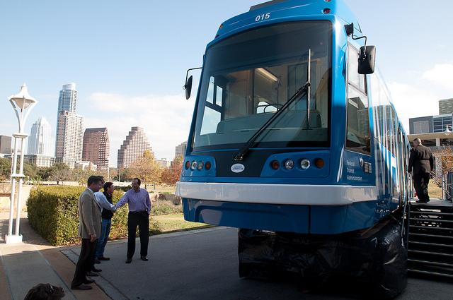 The City of Austin invited Oregon Ironworks to show their urban rail vehicle in 2010.